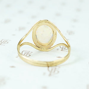 Jelly Opal set in 14k recycled yellow gold ring back view