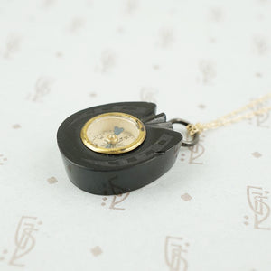 Antique Horseshoe Shaped Jet Compass