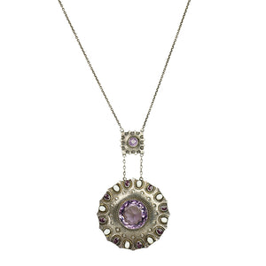 Circa 1910 Sterling and Amethyst Arts and Crafts Necklace - Gem Set Love