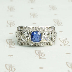 Bold Sapphire and Diamond Platinum Filigree Band
