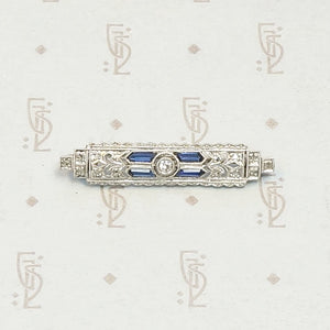 Architectural Diamond and Sapphire Filigree Bar Pin