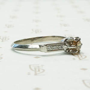 Vintage Fancy Yellow Diamond Engagement Ring