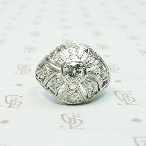 Edwardian Diamond & Filigree Bombé Ring
