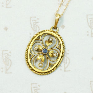 Lovely Engraved Quatrefoil Pendant with Sapphire & Pearl
