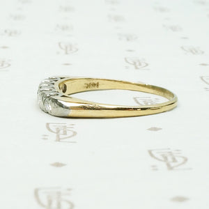 Two Tone Diamond Band with Fancy Prongs