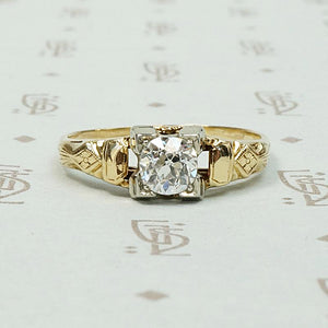 Pretty 1930s Engraved Diamond Engagement Ring