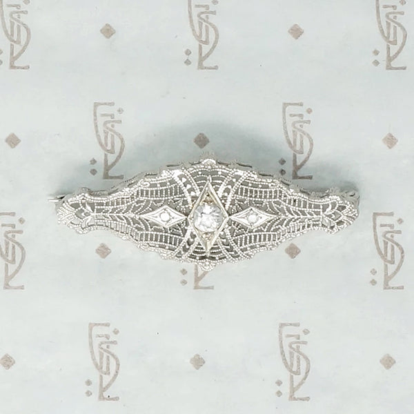 Lacy Art Deco Filigree and Diamond Brooch