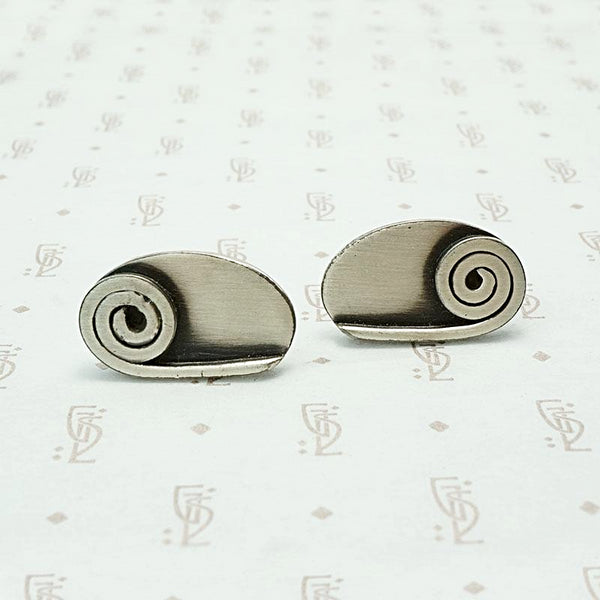 Sculptural Silver Cuff Links by Orb
