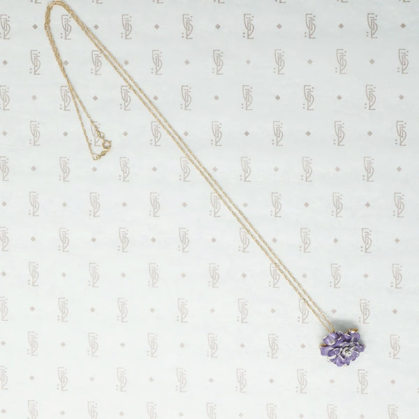 Lavender Rose Enameled Pin Pendant