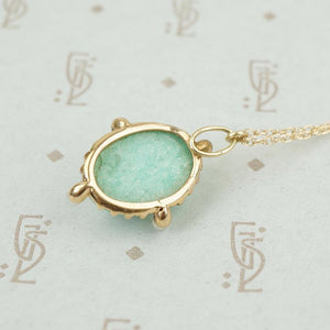 back view of 14k yellow gold amazonite pendant edwardian