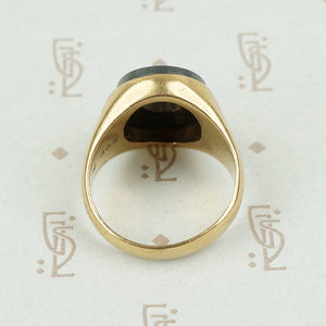 Back view of gold intaglio ring
