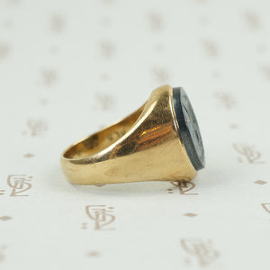 Side view of roman soldier intaglio ring