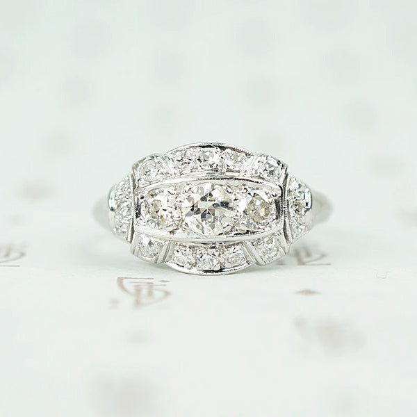 Art Deco Old European Cut Diamond Ring in Platinum