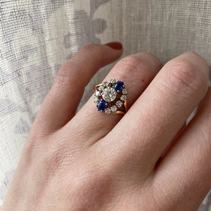 Midcentury Diamond and Sapphire Statement Ring