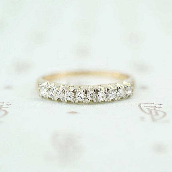 Classic 1940s Two-Tone Diamond Wedding Band