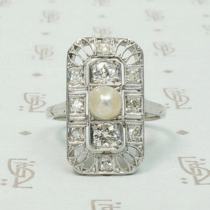 Edwardian Panel Pearl & Diamond Dream Ring