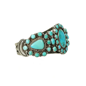 Native American Coin Silver Turquoise Cuff - Gem Set Love