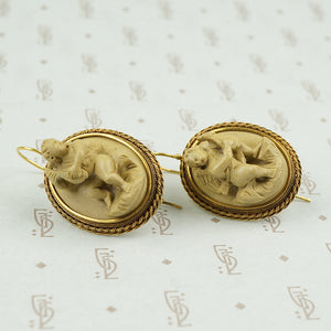 Antique Carved Lava Earrings with Cherubs