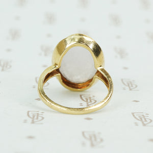 lavender jade in 14k gold ring simple bezel back view