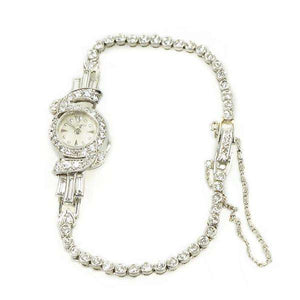 Le Coultré Petite Ladies wristwatch in Platinum with Diamond Bracelet