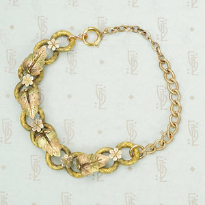 The Golden Leaf and Flower Bracelet