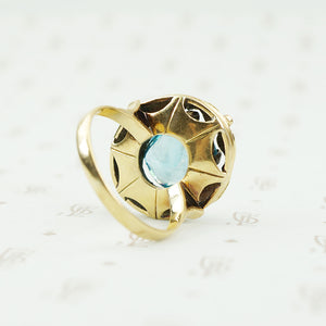 Vintage Green and Rose 18k Gold Blue Zircon Ring