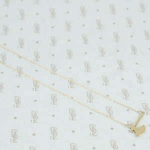 14k gold hatchet necklace back side
