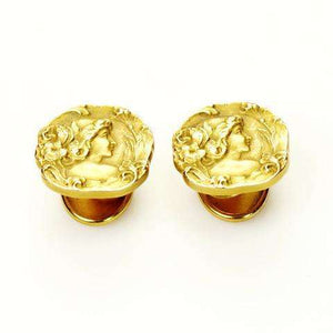 Signed 14k Carter & Gough Art Nouveau Cuff Links in Box