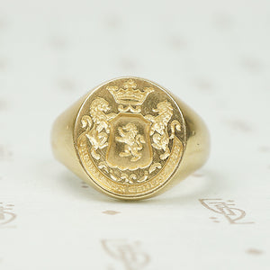 Heavy Gold Signet Ring Lion Passant Crowned