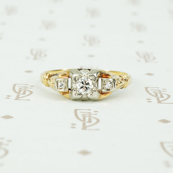 petite 2 tone diamond engagement ring circa 1930