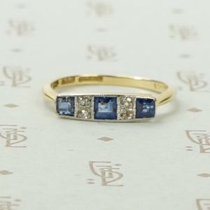Edwardian Sapphire and Diamond Band in Platinum and 18k