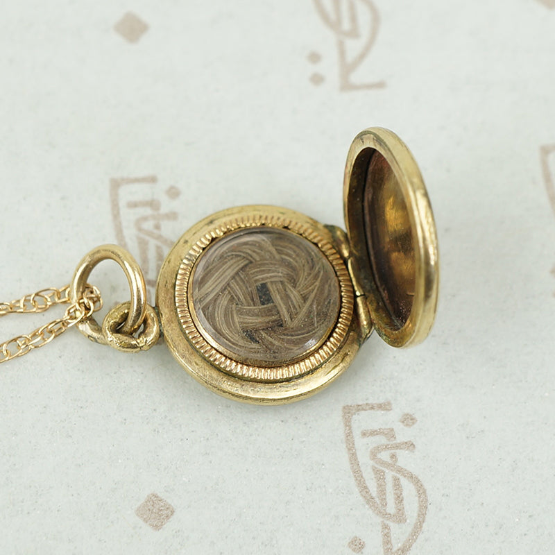 Petite English Locket with Woven Hairwork