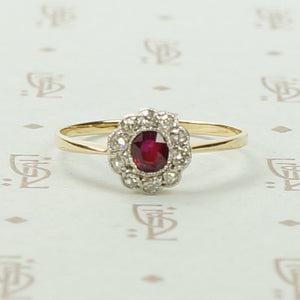 Sweet Ruby and Diamond Floral Cluster Ring