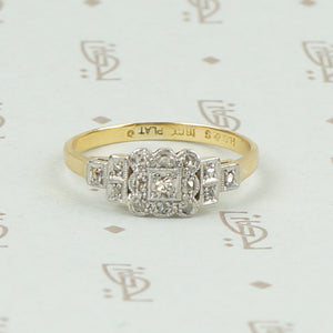 Romantic 1930s Diamond Band in Platinum and 18K