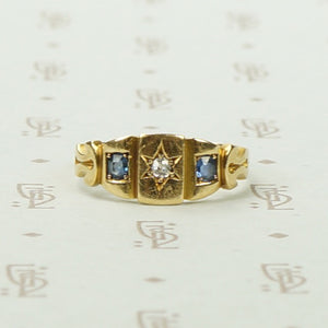 Charming Victorian Band in 18k Gold, Sapphires and Diamond