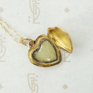 Petite Victorian Rosy Gold Heart Locket