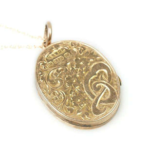 9k Rose Gold English Locket with detailed engraving