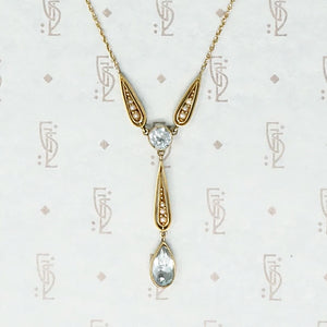 Charming Turn of the Century Aquamarine and Seed Pearl Necklace