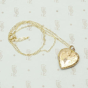 Engraved English Heart Locket in Rose Gold