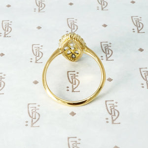 The Old Mine Diamond 18k Gold Navette Ring