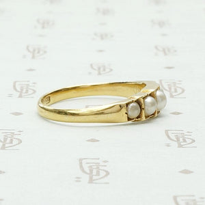 18ct English Gold Step-Side Pearl Band
