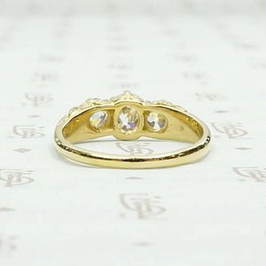 English Three Stone Ring with Old Mine Diamonds