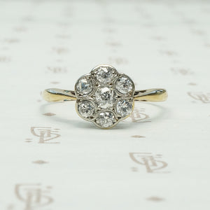 chunky old mine cut diamond flower platinum and 18k yellow gold ring