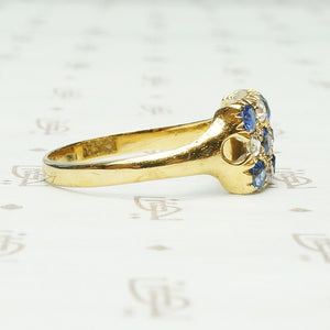 The Paved Rectangle of Sapphires and Diamonds Ring