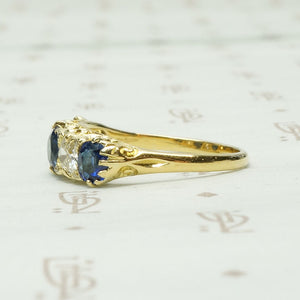 Exquisite English Sapphire and Diamond Band in 18k Gold