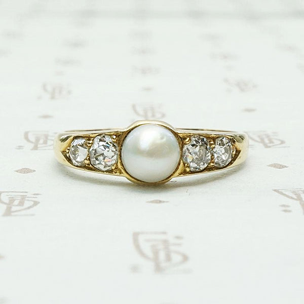 Pearl & Diamond Victorian Ring with Lovely Symmetry