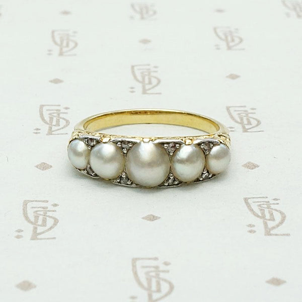 Victorian Dream Ring with Pearls & Diamonds