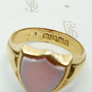 Glowing Red Agate English Signet Ring