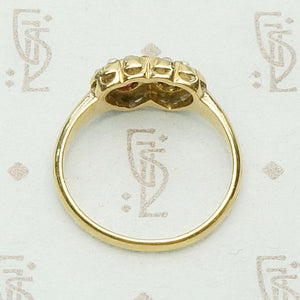 Doubled Heart English Betrothal Ring