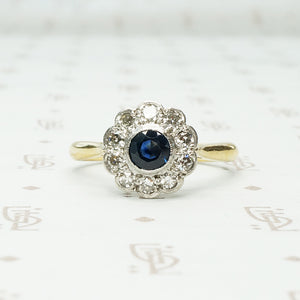 Deep Blue Sapphire and Diamond Flower Ring